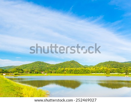 beauty sunny day on the lake with clear sky and mountain in background - stock photo