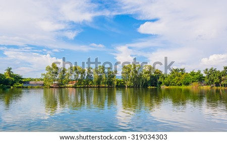 beauty sunny day on the lake with clear sky and tree in background - stock photo