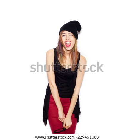 Beauty Surprised Brunette Woman isolated . Beautiful Girl opening Mouth. Emotion.  Hairstyle. Makeup.  White background, not isolated - stock photo