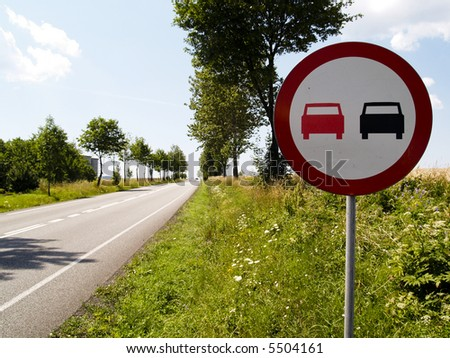 Beauty view on empty route and no outmarch sign - stock photo