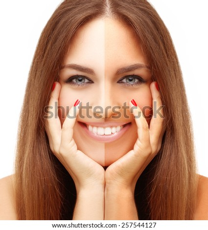 Beauty visual about suntan. Model's face divided in parts - tanned and natural. - stock photo