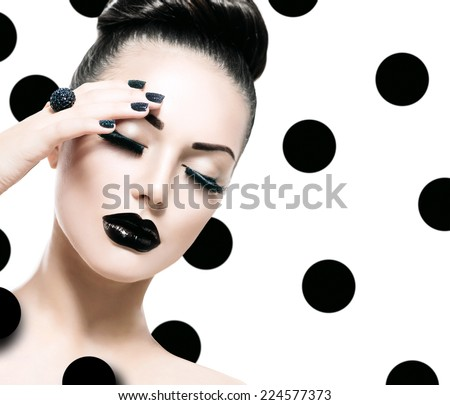 Beauty Vogue Style Fashion Model Woman with Long Lushes, Black Manicure and Lipstick. Fashion Trendy Caviar Black Manicure. Nail Art. Passion  - stock photo