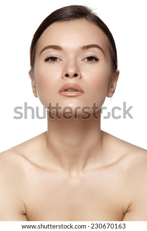 Beauty, wellness, cosmetics, spa, healthcare and skincare. Beautiful woman model face with natural make-up, shiny complexion, soft clean skin. Daily look  - stock photo
