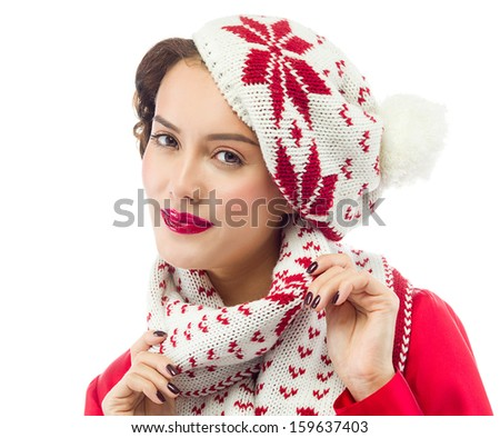 Beauty winter portrait of attractive young caucasian woman in warm clothing , hat, scrarf. studio shot, isolated on white, smiling, face, skin, head and shoulders, red - stock photo