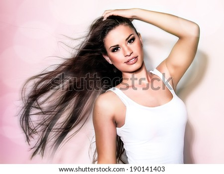 Beauty Woman. Beautiful Young Female touching Her Skin. . Healthcare. Perfect Skin. Beauty Face.  - stock photo