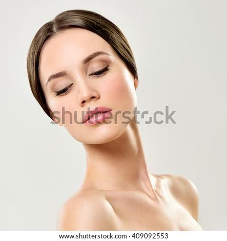 Beauty Woman. Beautiful Young.  Perfect Skin. - stock photo