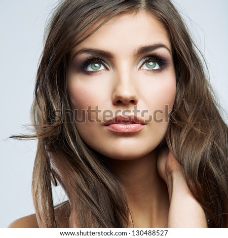 Beauty woman face close up portrait. Female young model. Studio isolated . - stock photo