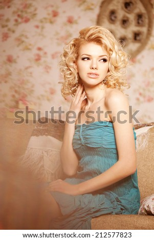 Beauty woman. Face of a young beautiful smiling blondy girl - stock photo