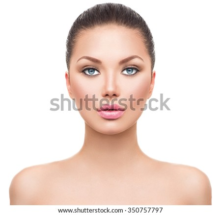 Beauty Woman face Portrait. Beautiful Spa model Girl with Perfect Fresh Clean Skin. Brunette female looking at camera. Youth and Skin Care Concept. Isolated on a white background. Headshot - stock photo