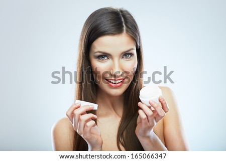 Beauty woman face skin care. Close up portrait. White background isolated. Studio. - stock photo