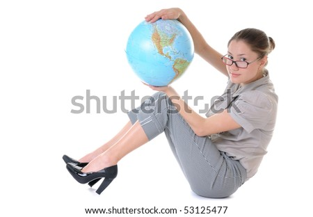 Beauty woman in glasses is sitting with a globe in hands - stock photo