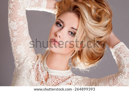 Beauty woman portrait blonde girl curly hair hairstyle bright makeup, perfect skin, skincare, cosmetology, botox. Sexy vogue woman face, sensual beauty girl model. Natural look. studio, isolated. - stock photo