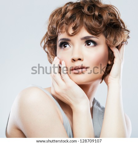 Beauty woman portrait . Isolated female model . - stock photo