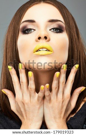 Beauty woman portrait. Nails, lips, hair, face care. Young model. - stock photo