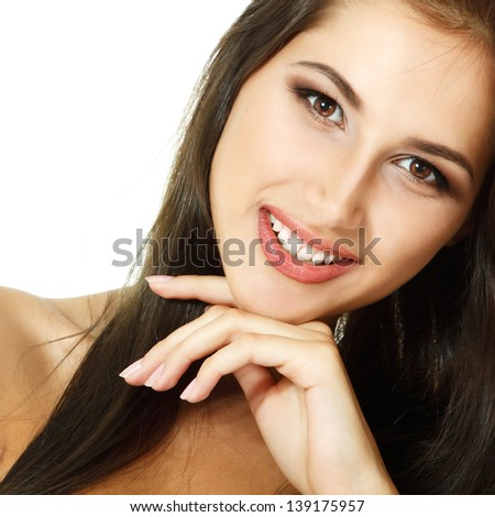 beauty woman, portrait of girl looking at camera, isolated on white background - stock photo