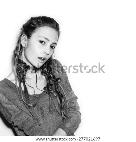 beauty woman portrait of teen girl beautiful cheerful enjoying with long brown hair and clean skin. Black and white toned Not isolated on white background - stock photo