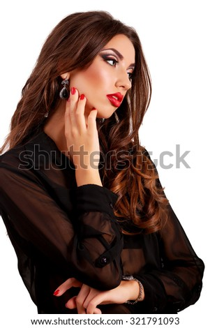 beauty woman portrait of teen girl beautiful cheerful enjoying with long brown hair and clean skin isolated on white background - stock photo