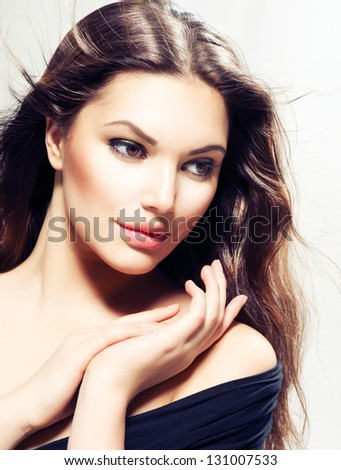 Beauty Woman portrait with long hair. Beautiful Brunette Girl. Natural Beauty - stock photo