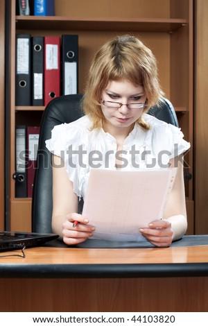beauty woman secretary in office on work - stock photo