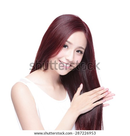 Beauty woman touch her long hair isolated on white background, asian beauty - stock photo