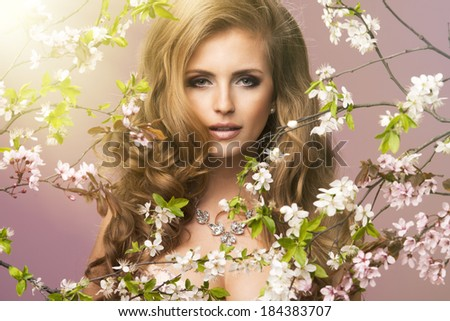 Beauty woman very stretched - stock photo