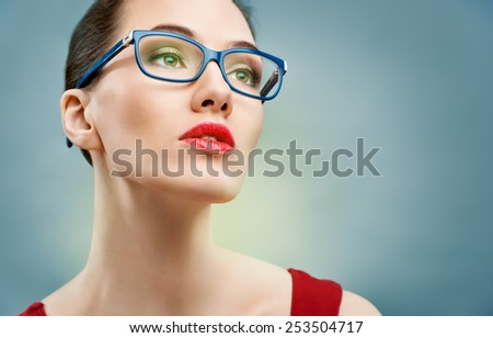 beauty woman wearing glasses - stock photo