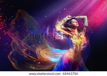 Beauty woman wearing gorgeous dress - stock photo