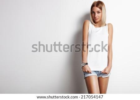 beauty woman wearing white top - stock photo