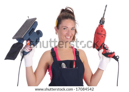 Beauty woman with auger and sander on white background - stock photo