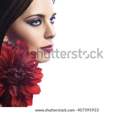 Beauty woman with bunch flowers. Professional Makeup and hairstyle - stock photo