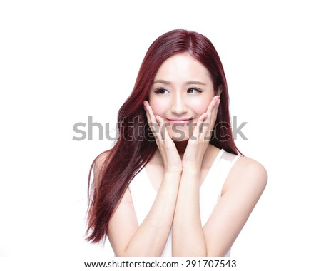 Beauty woman with charming smile and look to something empty copy space, she has health skin, and hair isolated on white background, asian beauty - stock photo