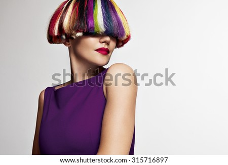 beauty woman with different color hair - stock photo