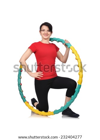beauty woman with hula hoop isolated on white background - stock photo