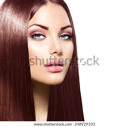 Beauty Woman with Long Healthy and Shiny Smooth Brown Hair. Model Brunette Girl Portrait over white background. Hair Extensions. Perfect skin, skincare. - stock photo