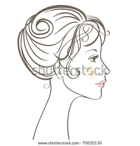 Beauty women face illustration with make up - stock photo
