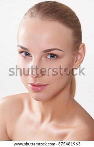 beauty women nude makeup - stock photo