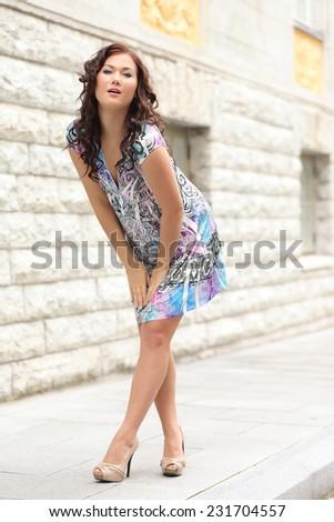Beauty Women on the street - stock photo