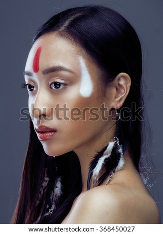 beauty young asian girl with make, red indians woman fashion, close up beauty - stock photo