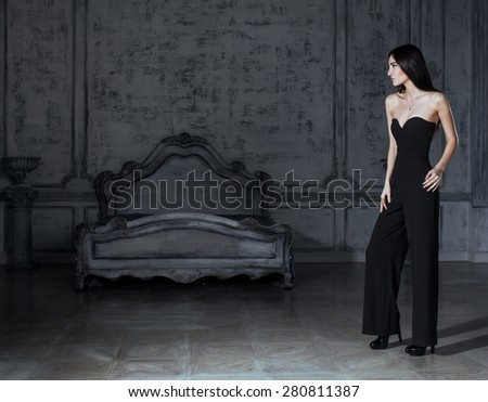 beauty young brunette woman in luxury home interior, fairy bedroom grey stylish bright - stock photo