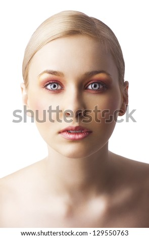 beauty young girl with a floral makeup. She is turned of three quarters and looks in to the lens with attractive expression - stock photo