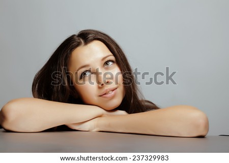 beauty young teenage brunette real girl smiling close up - stock photo