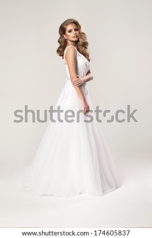 Beauty young woman in wedding dress  - stock photo