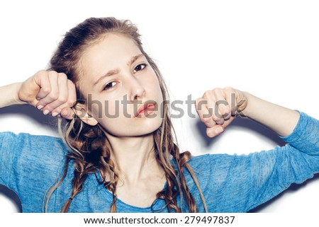 Beauty young woman. Portrait of teen girl beautiful cheerful enjoying with long brown hair and clean skin. Not isolated on white background - stock photo