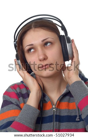 Beauty young woman with headphones - stock photo