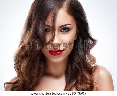 Beauty young woman with long hair and fresh skin - stock photo