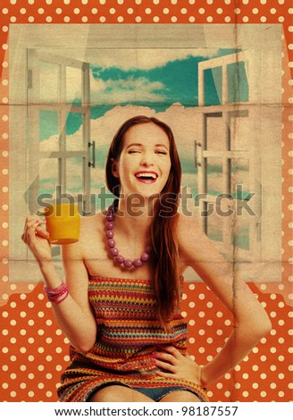 beauty young woman with yellow cup, art collage - stock photo