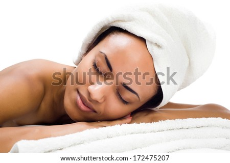 beautyful young women relaxing in the spa salon - stock photo