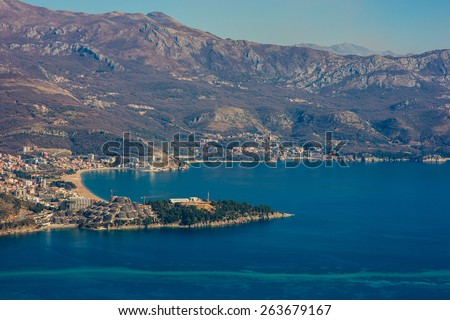 Becici from the sky - stock photo