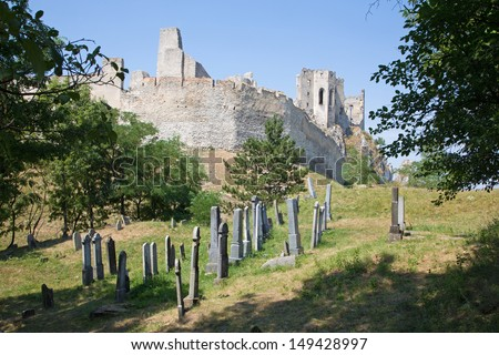 Beckov - old Jewish cemetery under the castle ruin - stock photo