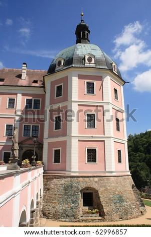 Becov nad Teplou Castle, West Bohemia, Czech Republic, Central Europe. Summertime. - stock photo